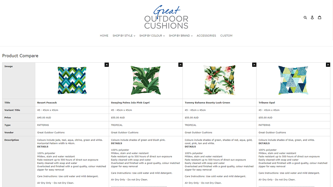 Shopify Product Compare Functionality